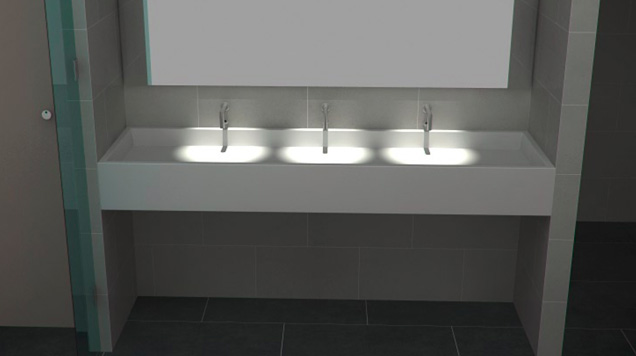 What is standard height for bathroom vanity - Corian Trough Thrislington Education Toilets In